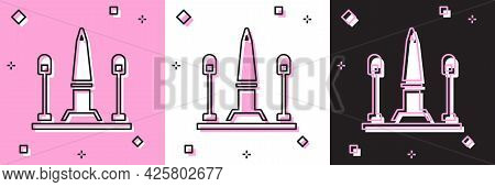 Set Place De La Concorde In Paris, France Icon Isolated On Pink And White, Black Background. Vector