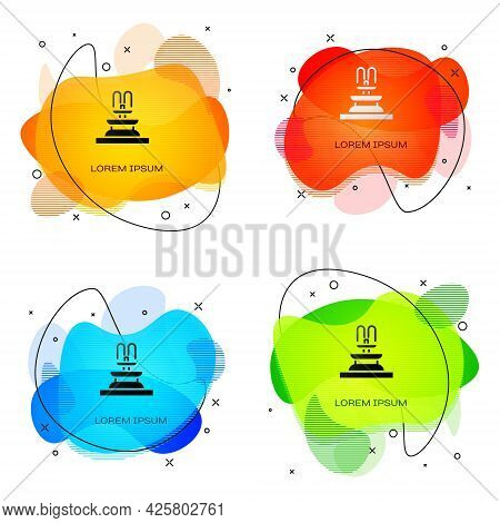 Black Fountain Icon Isolated On White Background. Abstract Banner With Liquid Shapes. Vector