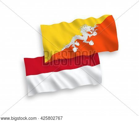 National Fabric Wave Flags Of Indonesia And Kingdom Of Bhutan Isolated On White Background. 1 To 2 P