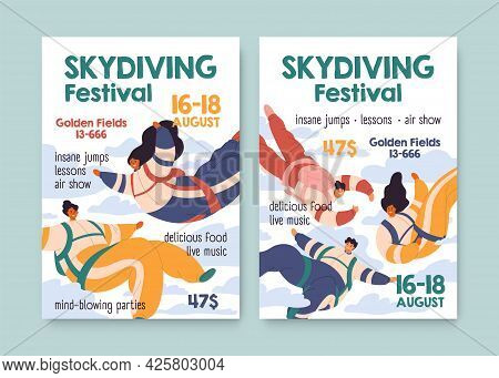 Flyer Design Of Skydiving Festival. Vertical Banner Template For Skydivers Event. Backgrounds With P