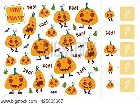 Count How Many Pumpkins. Mini Math Game For Three Halloween Pumpkins. Cartoon Vector Illustration Of