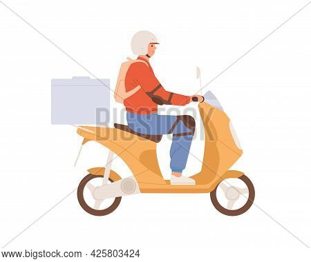 Courier In Helmet Driving Moped With Delivery Box. Man Delivering Smth. On Motor Scooter. Guy Riding