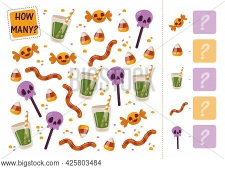 Count How Many Lollipops And Sweets. A Math Mini-game With A Halloween Treat. Vector Cartoon Illustr
