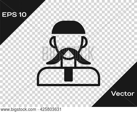 Black Ukrainian Cossack Icon Isolated On Transparent Background. Vector