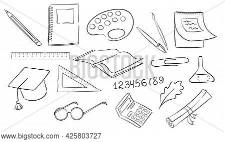 School Supplies In A Black Outline. Subjects For School Classes. Rulers, Calculator, Glasses, Scroll