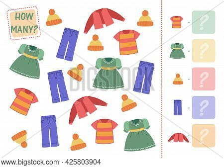 Count How Many Wardrobe Items, Clothes Are Shown And Enter In The Square With An Example. Math Mini-