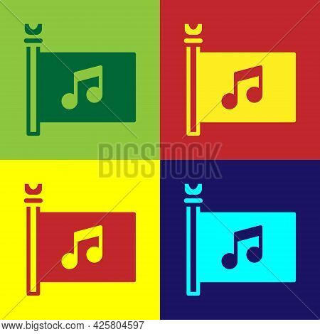 Pop Art Music Festival, Access, Flag, Music Note Icon Isolated On Color Background. Vector