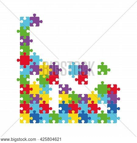 Vector Illustration Of Multicolored Puzzle Pieces Of Puzzles That Are Separated. Autism Isolate Symb