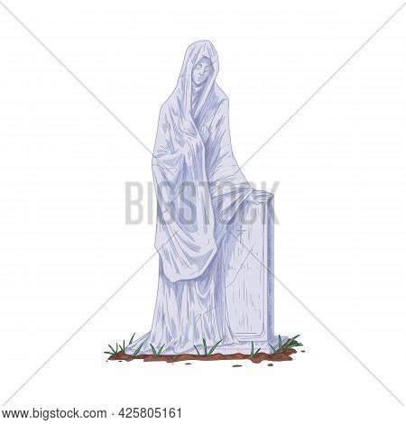 Gravestone With Sculpture Of Woman In Grief. Vintage Tombstone And Gothic Stone Statue. Christian He