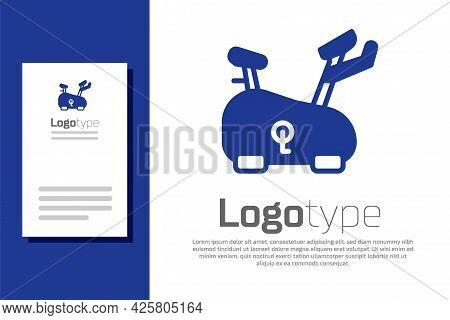 Blue Stationary Bicycle Icon Isolated On White Background. Exercise Bike. Logo Design Template Eleme