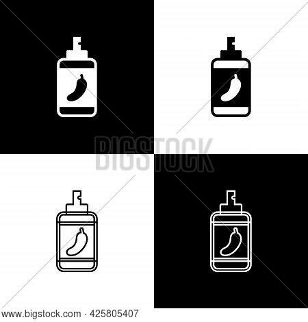 Set Pepper Spray Icon Isolated On Black And White Background. Oc Gas. Capsicum Self Defense Aerosol.