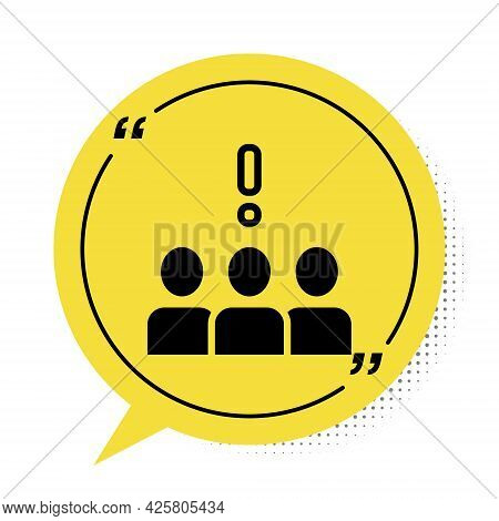 Black Crowd Protest Icon Isolated On White Background. Demonstration. Yellow Speech Bubble Symbol. V
