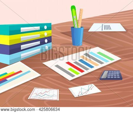 Office Workplace At Wooden Table With Data Reports, Documents With Information And Statistics Charts