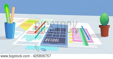 Analysts Team Desktop With Data Reports, Documents With Information And Statistics, Stationery For P