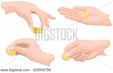 Set Of Hands With Coins Isolated On White Background. Money Donation, Charity, Investment. Profit, I