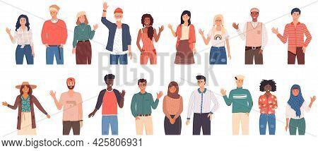 People Greeting Gesture. Different Nations Representatives Waving Hand Saying Hi. Men, Women Say Hel