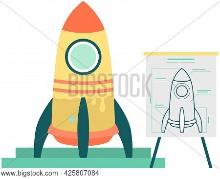 Launching New Project. Business Startup With Spaceship. Rocket Launch Planning And Modeling. Layout