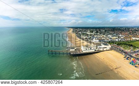 Panoramic aerial done view of Bognor Regis beach, West Sussex, England UK