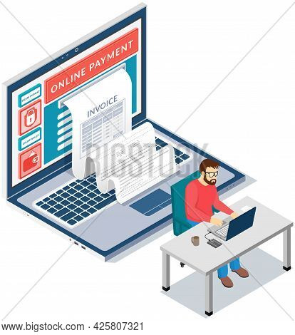 Financial Transaction Notification, Online Banking, Laptop With Cheque. Analytical And Statistical S