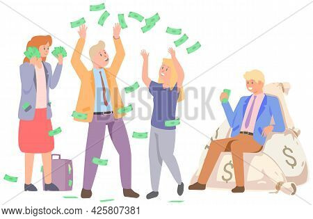 People Jump And Enjoy Wealth. Successful Characters Have Fun In Rain Of Money. Banknotes, Dollars Ar