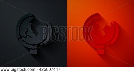 Paper Cut Road Traffic Sign. Signpost Icon Isolated On Black And Red Background. Pointer Symbol. Iso