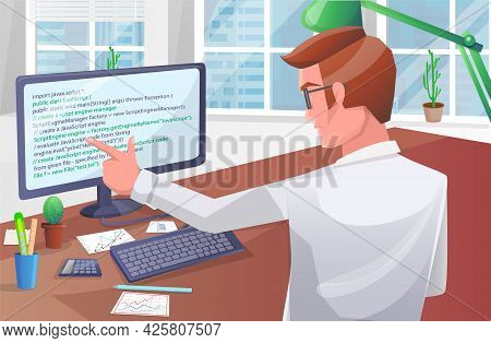 Office Worker Male Character Sitting At Table With Computer Programmer Writes Program Code. Business