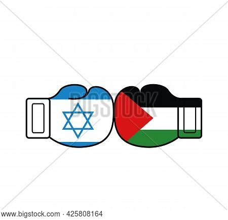 Two Flags Of Palestine And Israel On Boxing Gloves. Palestine And Israel War Concept. Vector Illustr