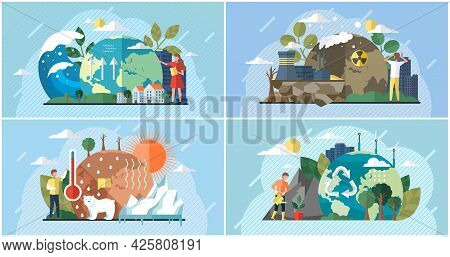 Set Of Illustrations About Impact Of Human Activity On Environment. People Use Planet Natural Resour