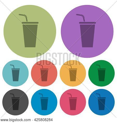 Disposable Drinking Cup With Straw Darker Flat Icons On Color Round Background