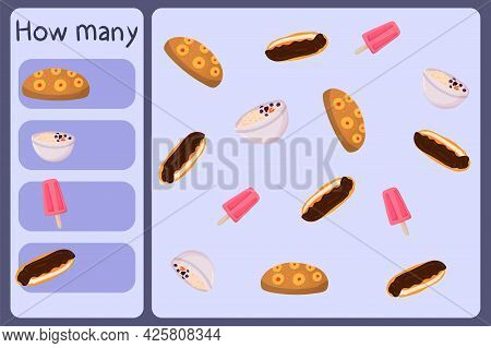 Kids Mathematical Mini Game - Count How Many Foods - Cake, Oatmeal, Ice Cream, Eclair. Educational G