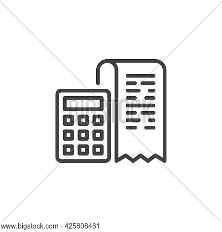 Invoice Calculator Line Icon. Linear Style Sign For Mobile Concept And Web Design. Bank Receipt And