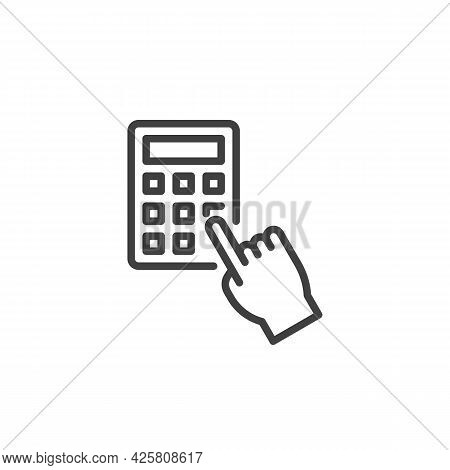 Hand Pressing Calculator Line Icon. Linear Style Sign For Mobile Concept And Web Design. Hand And Ca