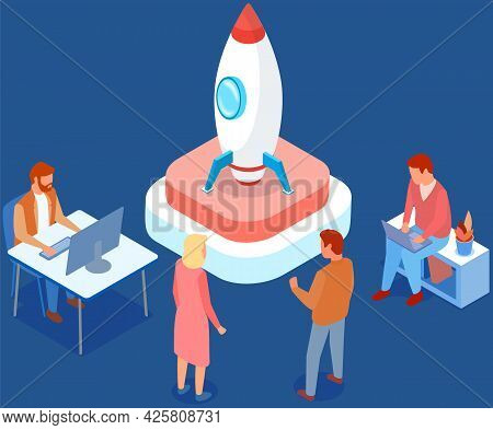 Presentation Of New Startup Project Business Plan. Rocket As Symbol Of Startup Launch. People Are Wo