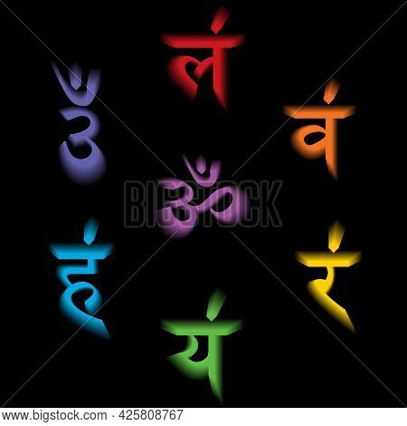 The Seven Bija Mantras With 3d Chakras Set Sanskrit Colorful Letterig Isolated On Black Background.