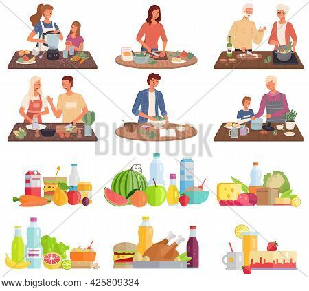 Set Of Illustrations About Vegetarian Food. Proper Nutrition, Healthy Lifestyle And Vegetarianism Co