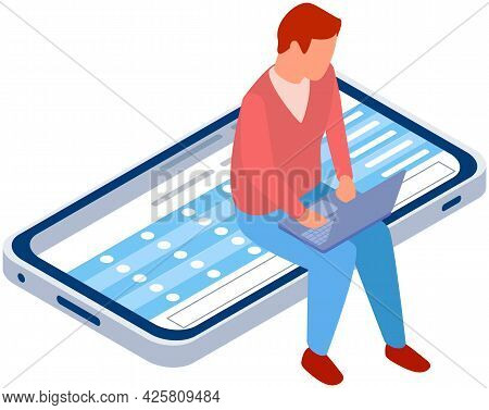 Guy Working At Laptop While Sitting At Mobile Phone Screen. Smartphone Showing Plan Or Schedule On S