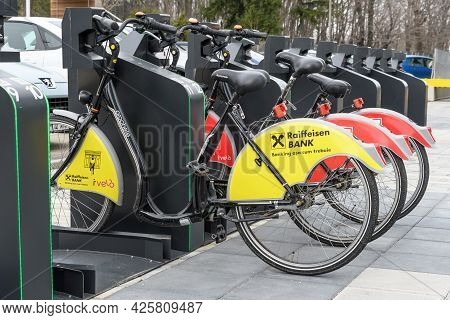 Bucharest, Romania, 16 March 2019: Public Bike Sharing Bicycles From Ivelo And Raiffeisen Bank In A