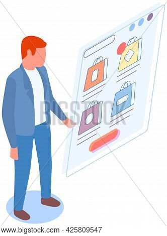 Man Is Using App For Buying And Ordering. Male Character Is Buying Stuff Online. Person Makes Purcha