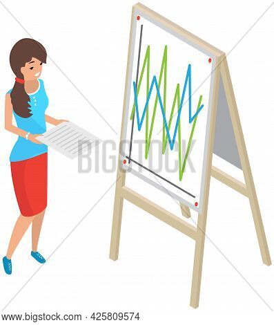 Girl Analysing Board With Financial Graphs And Charts. Woman With Statistical Business Report In Her