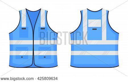 Safety Reflective Vest Icon Sign Flat Style Design Vector Illustration Set. Orange Fluorescent Secur