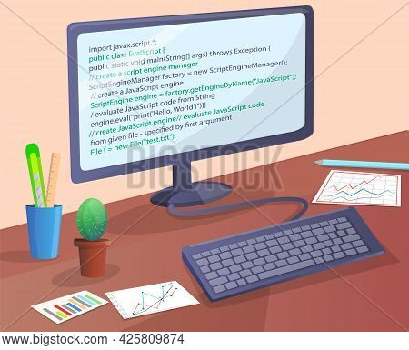 Workplace Of Office Worker Or Programmer With Code Screen. Desktop With Computer Monitor And Keyboar