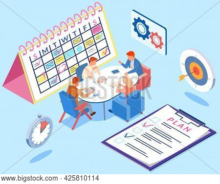 Project Planning, Deadline And Time Management Concept. Business Team Has Meetings And Discusses New