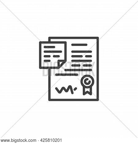 Contract Agreement Line Icon. Linear Style Sign For Mobile Concept And Web Design. Contract Document