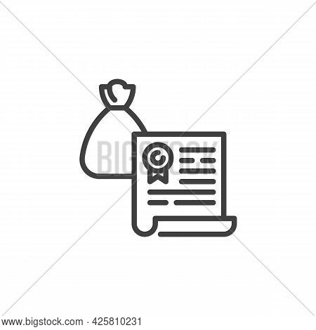 Financial Agreement Contract Line Icon. Linear Style Sign For Mobile Concept And Web Design. Bank Co