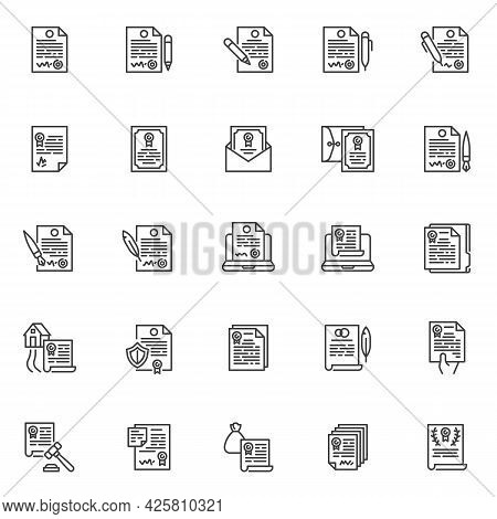 Agreement, Contract Line Icons Set. Linear Style Symbols Collection, Outline Signs Pack. Contract Do