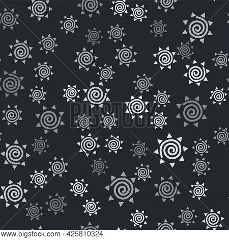 Grey Sun Icon Isolated Seamless Pattern On Black Background. Summer Symbol. Good Sunny Day. Vector