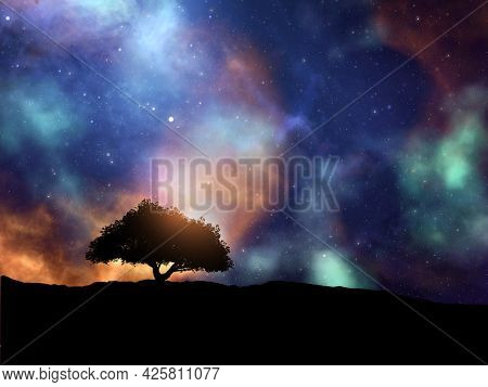 3D render of an abstract space scene with tree landscape