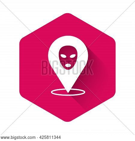 White Alien Icon Isolated With Long Shadow Background. Extraterrestrial Alien Face Or Head Symbol. P