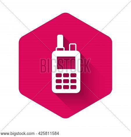 White Walkie Talkie Icon Isolated With Long Shadow Background. Portable Radio Transmitter Icon. Radi