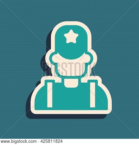 Green Sheriff Cowboy Hat With Star Badge Icon Isolated On Green Background. Police Officer. Long Sha